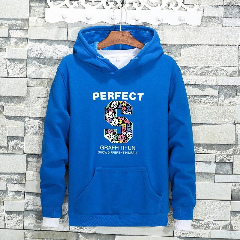 QIMAGE Causal Big Size Male Fleece Hoodie Loose Sweatshirt 2017 New Autumn Winter MensHoodiesThick Warm Pullover Black M-5XL 43