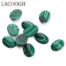 Wholesale 10pcs/lot Natural Bulk Beads 10x14 13x18mm Flat Back Oval Cabochons Cameo Malachite Stone for Jewelry Makings