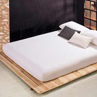 Funda de colchón de hoja ajustada Color sólido lijado sábanas de cama sábanas con banda elástica doble reina tamaño sábana 160X200CM