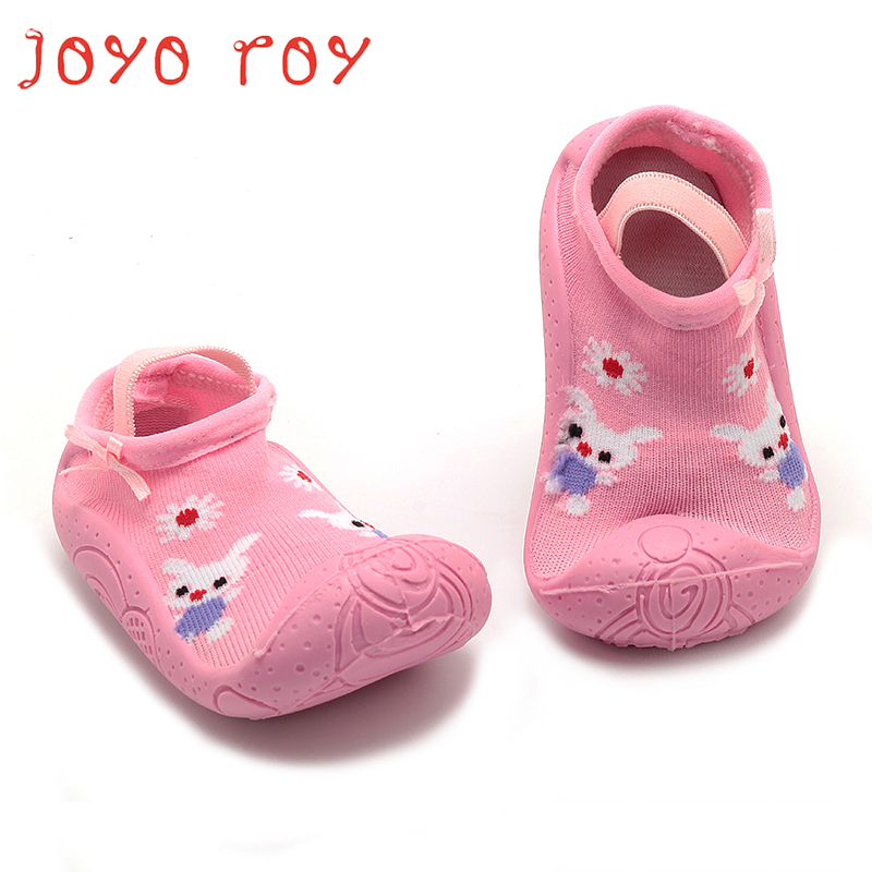Joyo Roy 1 Pair Baby Girls Pink Cotton Rubber Soled Socks Ankle Winter Christmas Gifts For Daughter Princess Infant Sock Shoes