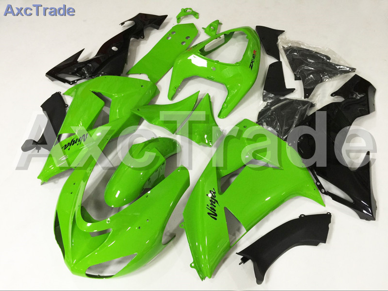 Motorcycle Fairings Kits For Kawasaki Ninja ZX10R ZX-10R 2006 2007 06 07 ABS Plastic Injection Fairing Bodywork Kit Green Black abs full fairing kit for kawasaki zx10r 2006 2007 red flames in black plastic fairings set ninja zx 10r 06 07 body kits zs26