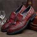 Luxury mens loafers burgundy mens tassel loafers shoes italian handmade crocodile smoking slippers black mens alligator shoes