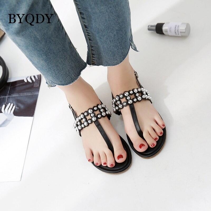 BYQDY Großhandel 2018 Neue Sommer Schuhe Frau Mode Metall Dekoration - Damenschuhe