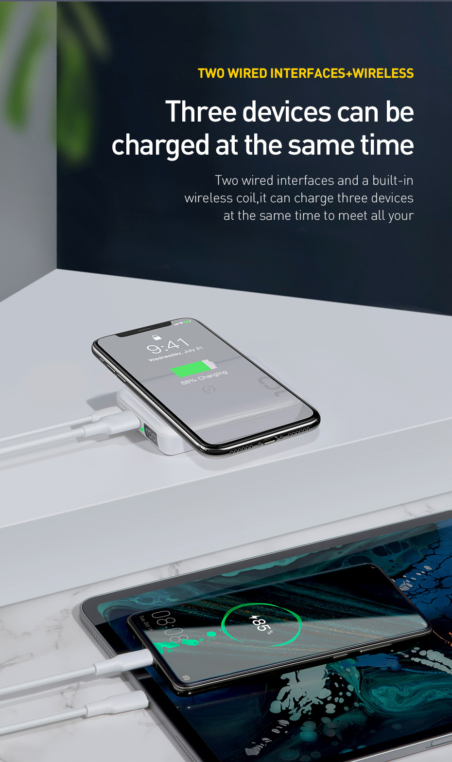Baseus 10000mAh Qi Wireless Charger Power Bank for iPhone Samsung Huawei Powerbank PD Quick Charge 3.0 Portable External Battery 15