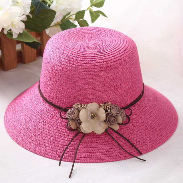 HT1298 Korea Women Summer Straw Hat with Flower Lady Big Wide Brim Lady  Floppy Beach Hat Female Solid Packable Panama Bucket Hat 46e754e72d71