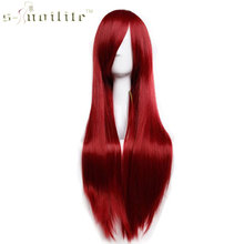 SNOILITE 32″ 80cm Lady Long Straight Wine Red Party Cosplay Wig Synthetic Heat Resistant Full Hair Wigs Blonde Pink Black