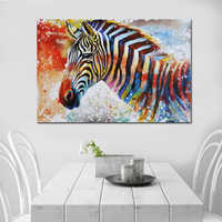 GOODECOR Colorful Zebra Wall Art Picture Modern Animal Canvas Painting Fashion Print Posters Home Decor Wall Canvas No Frame