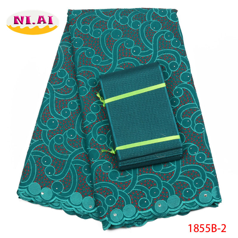 Nigeria Teal Green Embroidery Fabric Polish Cotton Lace For Men Nigerian Voile Lace Fabric High Quality