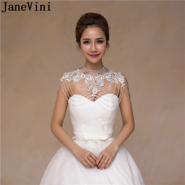 JaneVini White Bridal Necklace Lace Rhinestone Crystal Bride Wedding  Shoulder Chain Halter Pageant Party Jewelry Accessories 45573660d79b