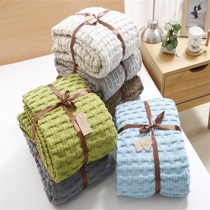 1 Piece Cotton Blanket Solid Color Throw Blanket On the Bed Sofa Queen Size Machine Office Blankets Washable 120x180cm
