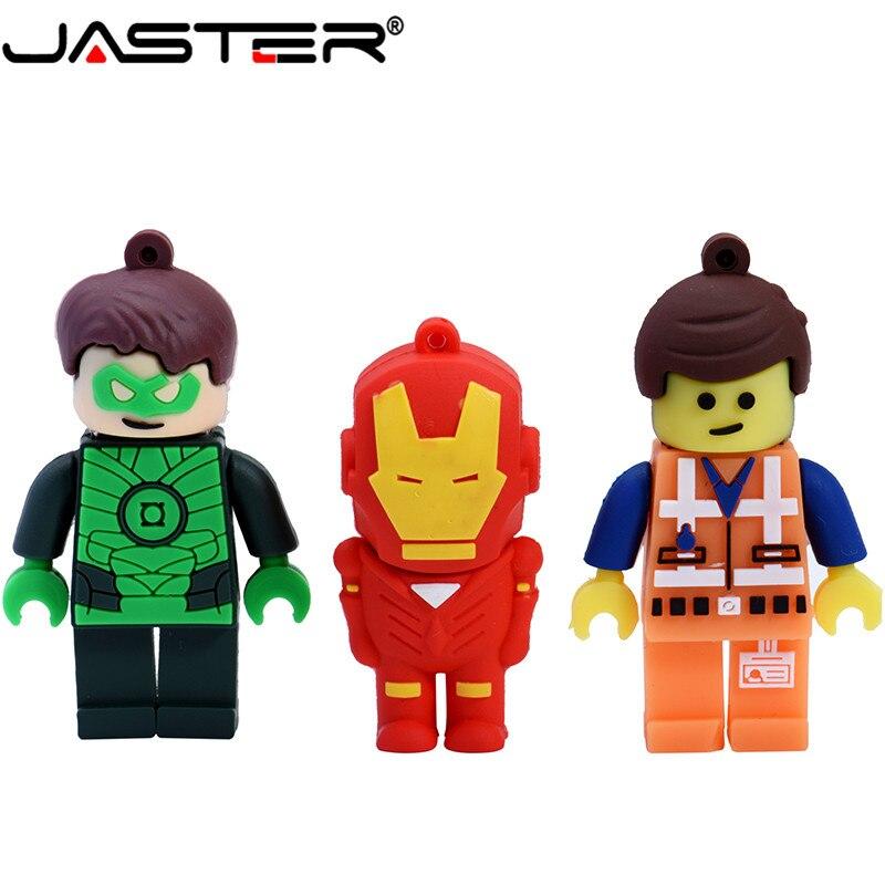 JASTER  The New LEGO Series Superman Batman Flash Drive USB 2.0 Pen Drive Minions Memory Stick Pendrive 4GB  16GB 32GB 64GB Gift