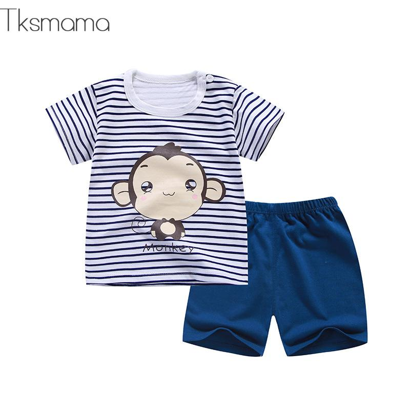 2019 Summer Baby Boy Clothes Newborn Striped Cartoon Monkey Tshirt + Shorts Set Girls Baby Clothing 6m-24months