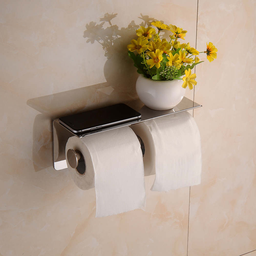 ФОТО Bathroom Wall-Mount Tissue Holder Toilet Roll Paper Holder with Shelf, Chrome Stainless Steel 08-054