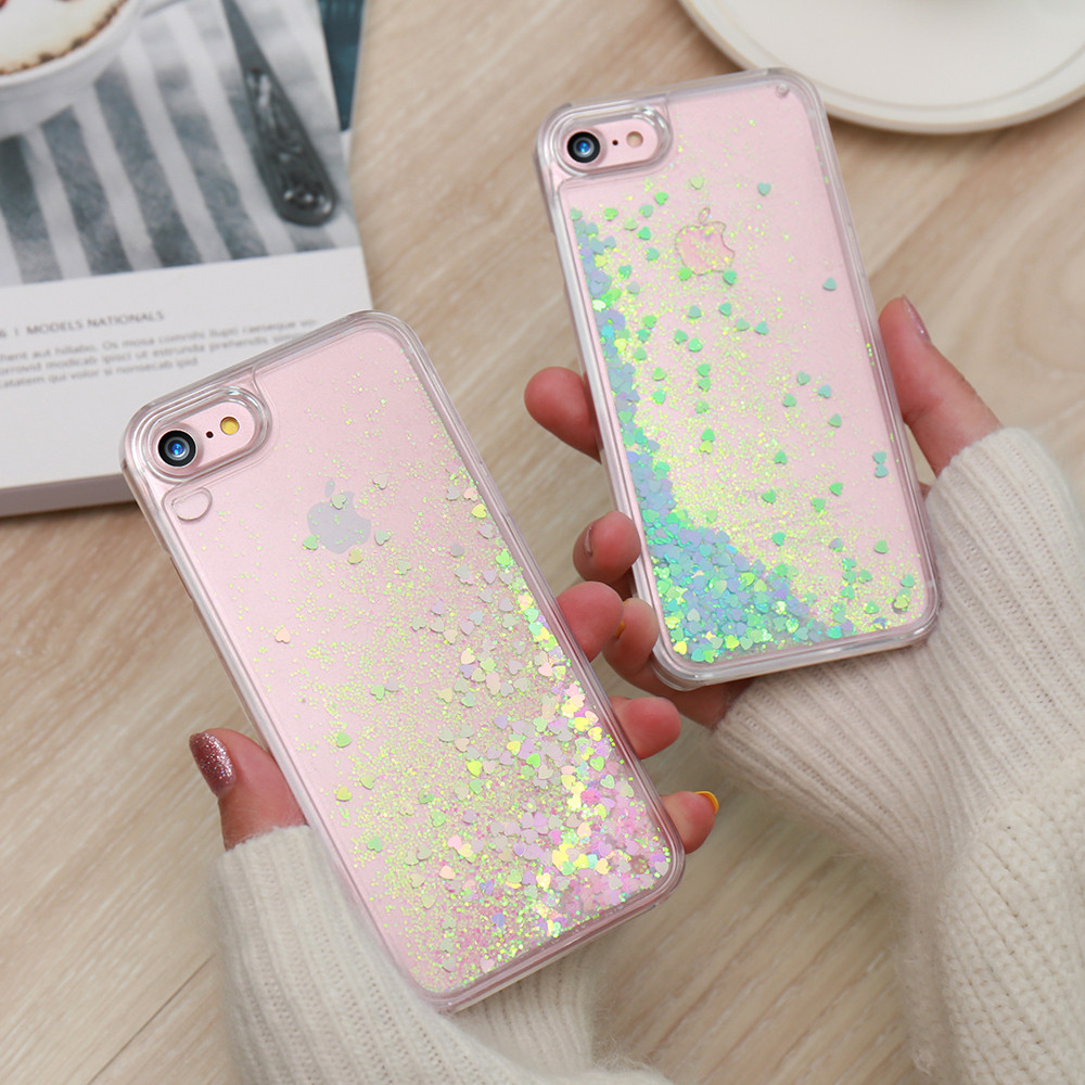 KISSCASE Cute Shiny Quicksand Sequin Case For font b iPhone b font 5 5s SE 6
