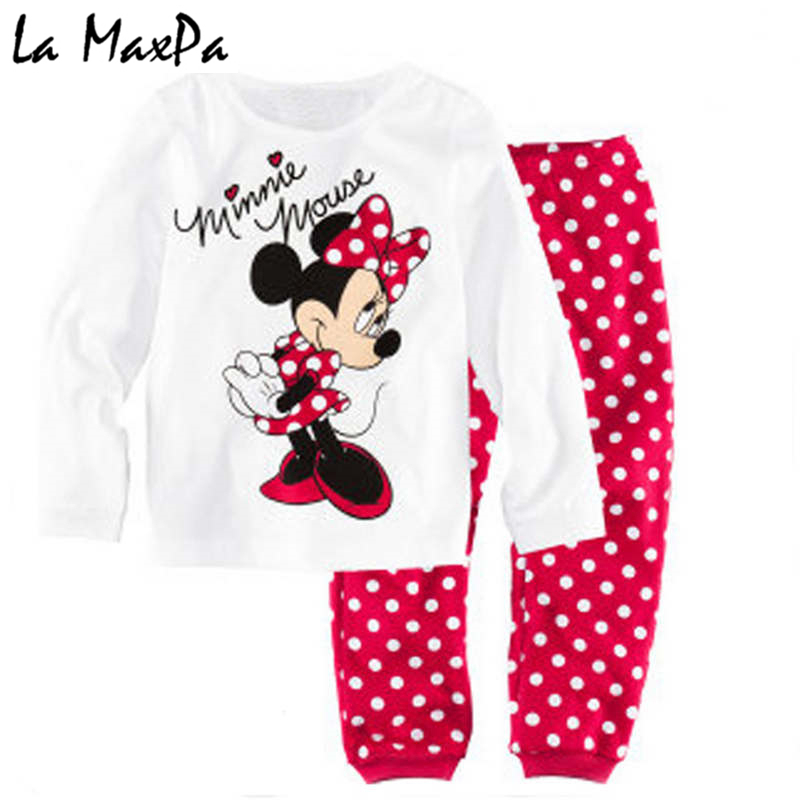 Childrens girls kids Clothing Sets Minnie Mouse Suits 2 pcs Spring Autumn Sleepwear Cotton Long Sleeve cartoon pajamas Set lovely spring pure cotton thomas and friends children clothing long sleeve tops pants for 2 7 years boy kids pajamas sleepwear