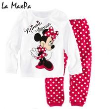 Купить с кэшбэком Childrens girls kids Clothing Sets Minnie Mouse Suits 2 pcs Spring Autumn Sleepwear Cotton Long Sleeve cartoon pajamas Set