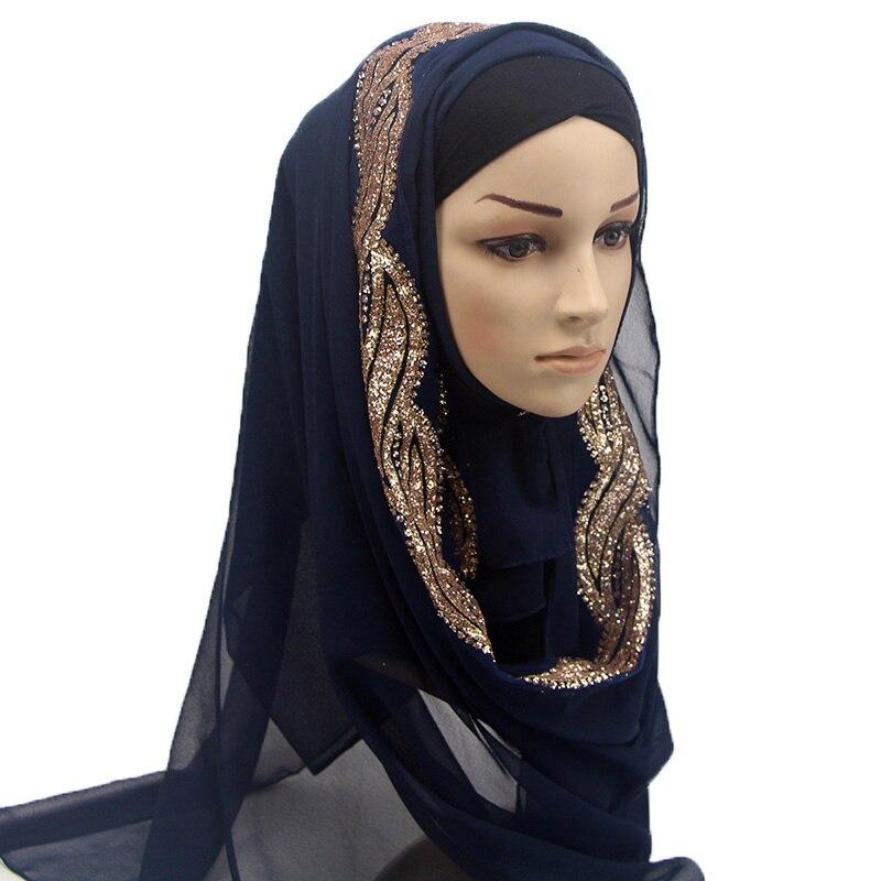 1 Pc Female Solid Color Shinny Sequins GLITTER Chiffon Silk Popular Shawls Muffler Headband Hijab Summer Muslim Scarves/scarf