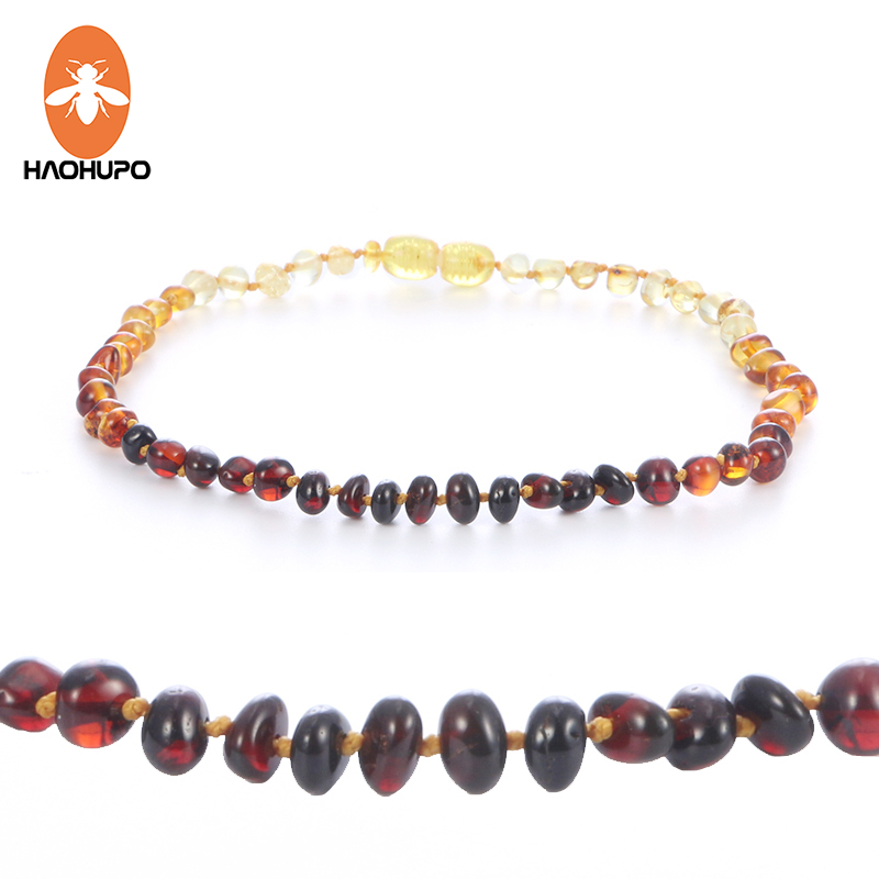 HAOHUPO Baroque Amber Necklace for Children Authentic Genuine Polished Cherry Cognac Rainbow Honey Baby Baltic Amber Necklace
