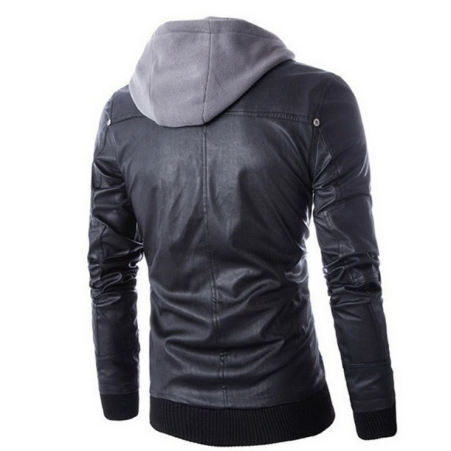 Laamei Hoodies Two-piece Men's Fake Leathers Jacket Men Locomotive Slim Male Leather And Coats Casual Men's Faux Leather Coat