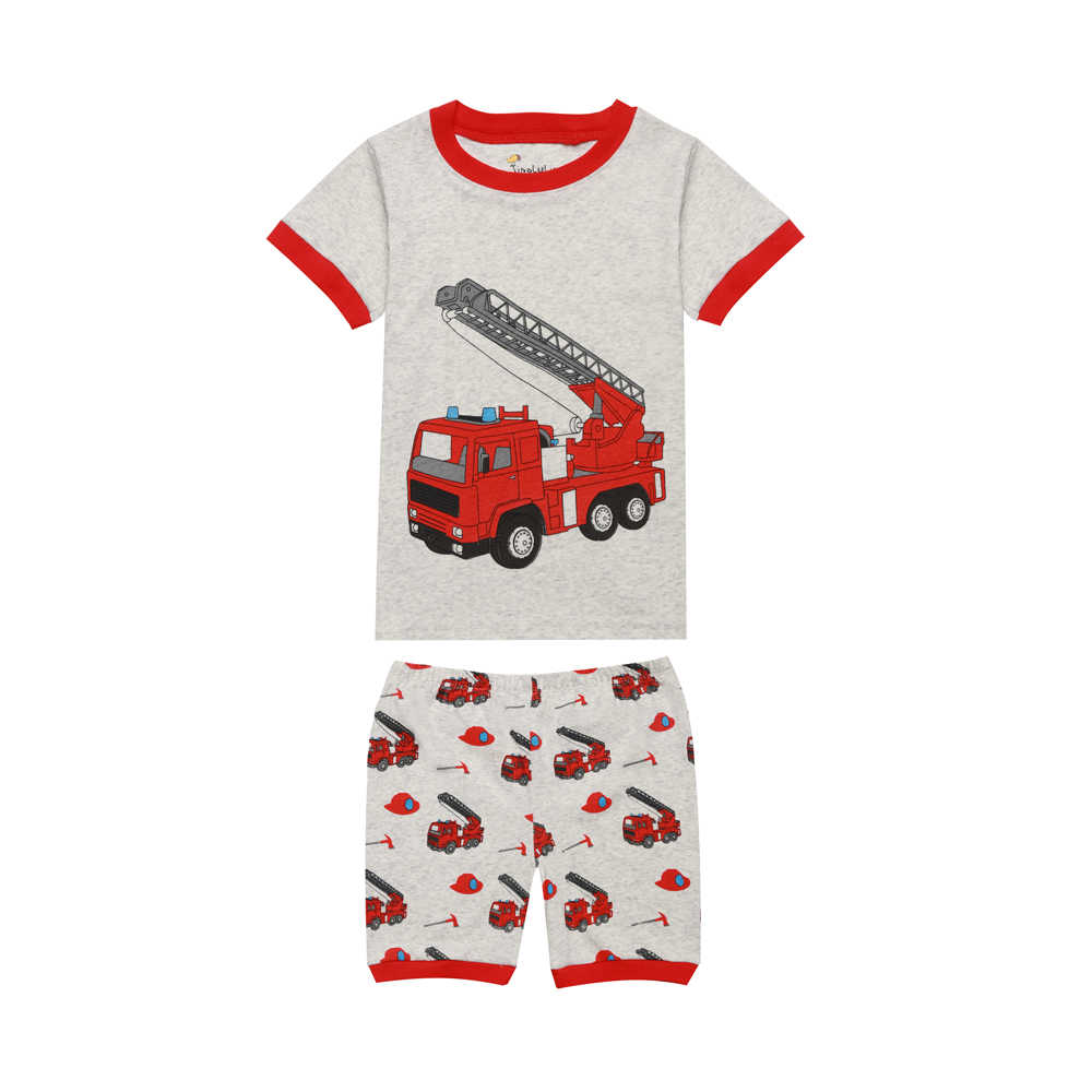 e3091cc401f 2018 new summer children's fire truck pajamas boys excavator airplane cars  clothing short sleeeve sleepwear for