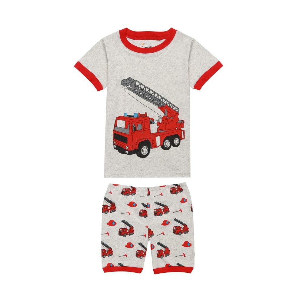 2018 Nieuwe Zomer Kinderkleding Brandweerwagen Pyjama Jongens Graafmachine Vliegtuig Cars Kleding Korte Sleeeve Nachtkleding Voor Kinderen Baby Meisjes Superieure Materialen