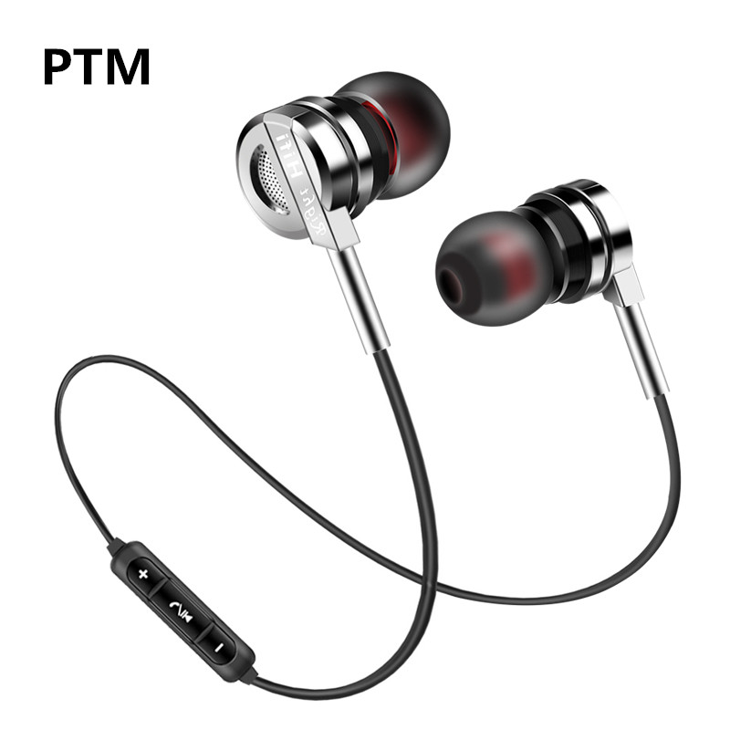 PTM BM5 Wireless Headphone Bluetooth Earphone Headphone Stereo Bass For Phone Neckband Sport Metal earphone Bluetooth V4.2