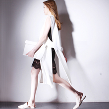 Unique Women Coat Ladies Sleeveless Split Hollow Out Design vest female top quality Long Draped Coat Cardigan Tops black white