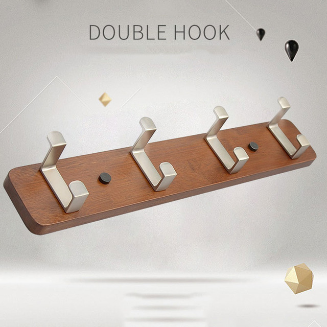 Actionclub Bamboo Creative Double Hooks Wall Coat Rack Wood Bedroom Clothes Hanger Simple Hook Storage Shelf