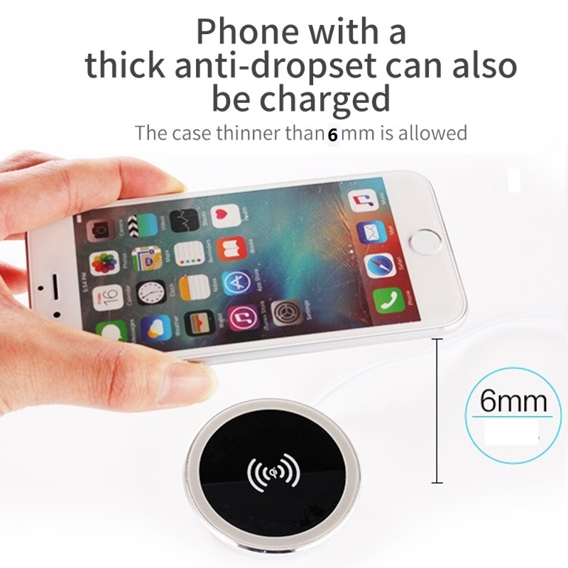 5W 10W 15W Built-in Desktop Qi Wireless Charger Device For iPhone Charging Plate Portable Power Charger Mat Mobile Power Charger 4