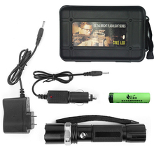 Super Outdoor Travel Camp Waterproof Tactical Police 3W Rechargeable Flashlight+Lithium Battery+Car Charger+Case flashlight kit
