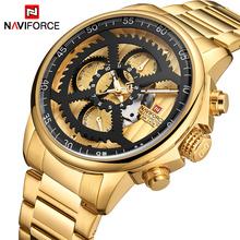 NAVIFORCE moda męska sport zegarki mężczyźni złoty kwarc 24 godziny zegar męski Top luksusowa marka wodoodporny zegarek wojskowy armii tanie tanio Moda casual Składane zapięcie z bezpieczeństwem 3Bar QUARTZ ALLOY 24cm CN (pochodzenie) Hardlex 15mm 24mm ROUND Kwarcowe Zegarki Na Rękę