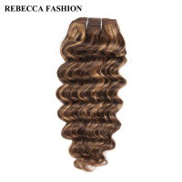 Rebecca Deep Wave Brazilian Hair Weave Bundles Non Remy 5 Colors Human Hair Bundles 100g Brown
