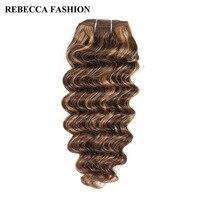 Rebecca Deep Wave Brazilian Hair Weave Bundles Non Remy 5 Colors Human Hair Bundles 100g Brown