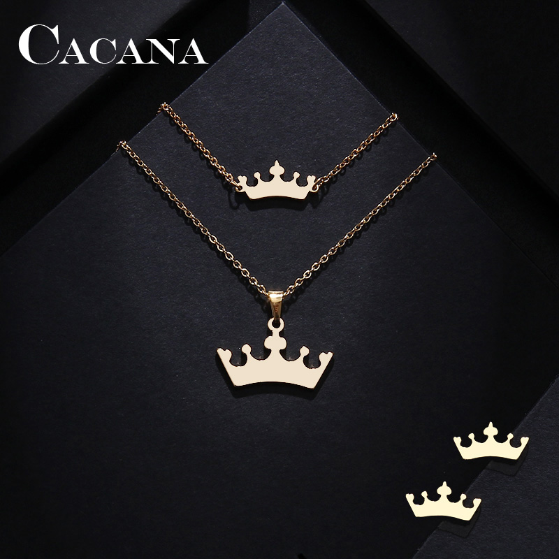 CACANA Stainless Steel Sets For Women Cartoon Crown Shape Necklace Bracelets Earrings For Women Lover's Engagement Jewelry S409