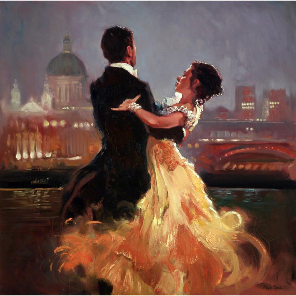 Ручная роспись Фигуративная абстрактного искусства пара танцоров в городе красивая женщина картины маслом для домашнего декора