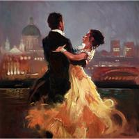 Hand painted figurative abstract art Couple Dancers in the city Beautiful woman oil paintings for Home decor
