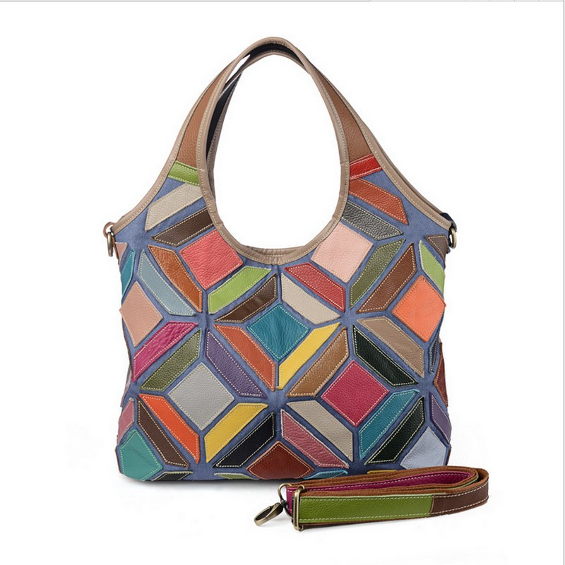 Fashion brand large capacity women genuine leather handbag color geometric pattern splicing ladies shoulder bags nylon color splicing camouflage pattern shoulder bag