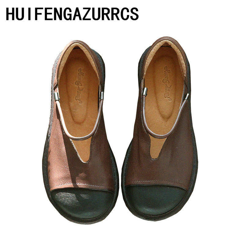 HUIFENGAZURRCS Literature and Art Retro True Leather Round Head Thick Bottom Shoes Handmade Comfortable Shoes with