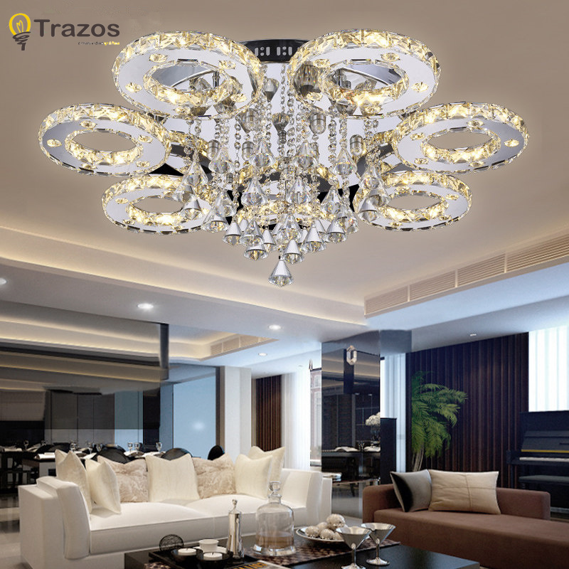 Modern Led Crystal Ceiling Lights For Living Room Luminaria Teto Cristal Lamps Home Decoration