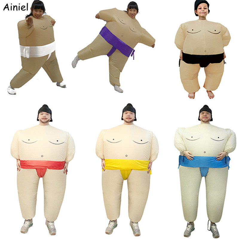 Adult Funny Inflatable Sumo Wrestler Fancy Dress Costume Outfit Suit Halloween