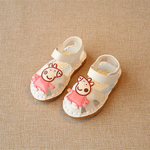 2017 New Summer baby girl Shoes Toddler children Girls Sandals Kids PU Leather Sandals peppa shoes for chaussure enfant white
