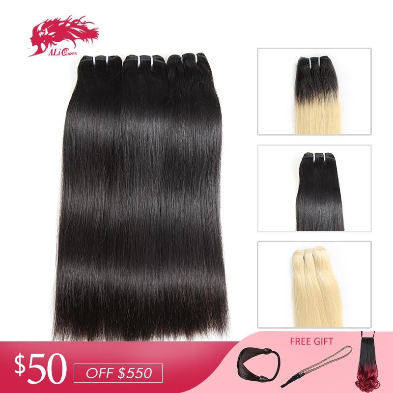 Ali Queen Hair Brazilian Straight Hair Bundles 10Pcs Lot Blonde 613/Natural Black/1b-613 Virgin Hair 100% Human Hair Extensions