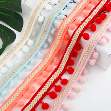 Hair Ball Trim DIY Embroidered Lace Ribbon Fabric For Sewing Textile Cloth Dress Decoration Patchwork Accessories One Meter