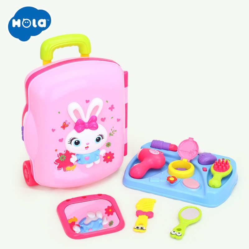 Ролевые игры игрушки комплект макияжа для детей парикмахерские макияж Дети Девушки моделирование пластиковая игрушка игрушечный туалетный столик