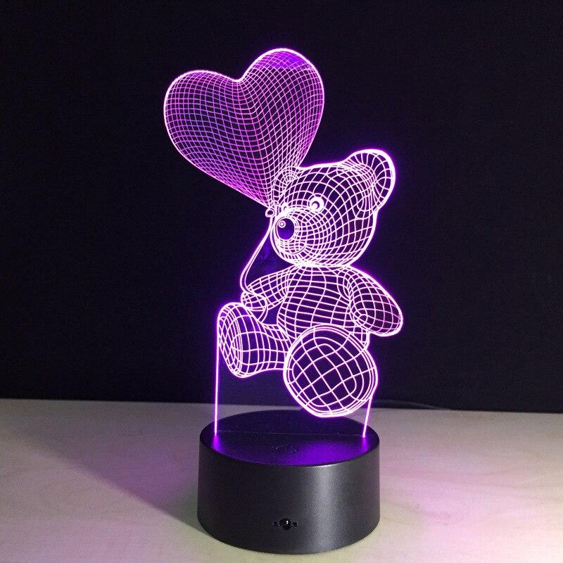 3D Tactile Nuit Lumière LED Ballon Coeur Ours Lampe Enfants Chambre Chevet Veilleuse Enfants Cadeau