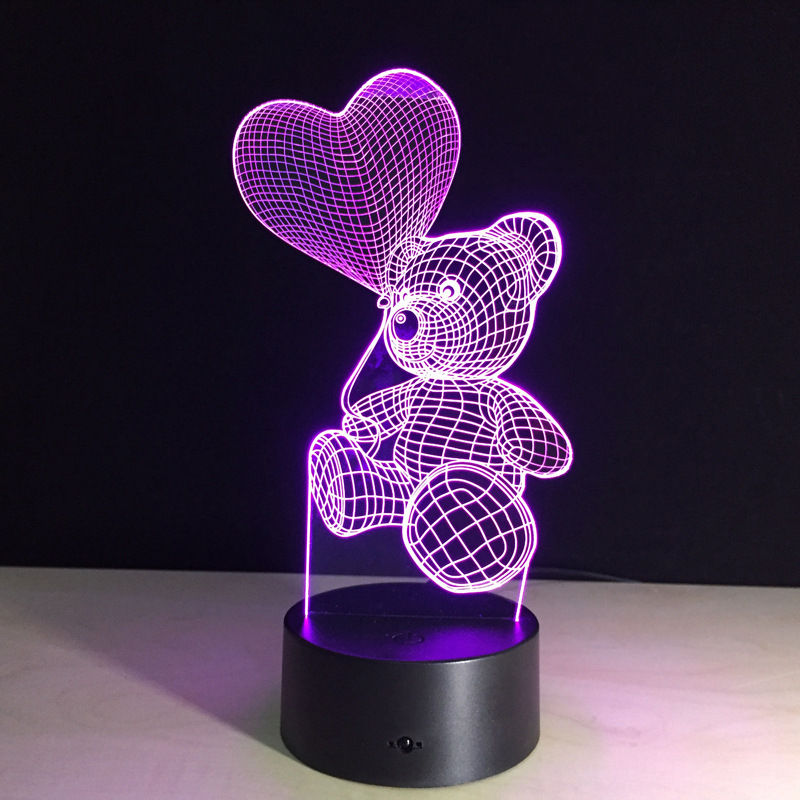 3D Touch Night Light LED Heart Balloon Bear Lamp Kids Bedroom Bedside Nightlight  Children Gift