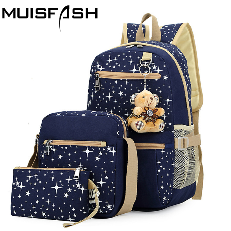 3 pcs/set canvas backpack women bags fashion rucksack high quality student school backpacks bolsos mochilas big capacity LS1020 kpop graffiti printing backpack city night scene large capacity travel student backpack school bags rucksack backpack mochilas
