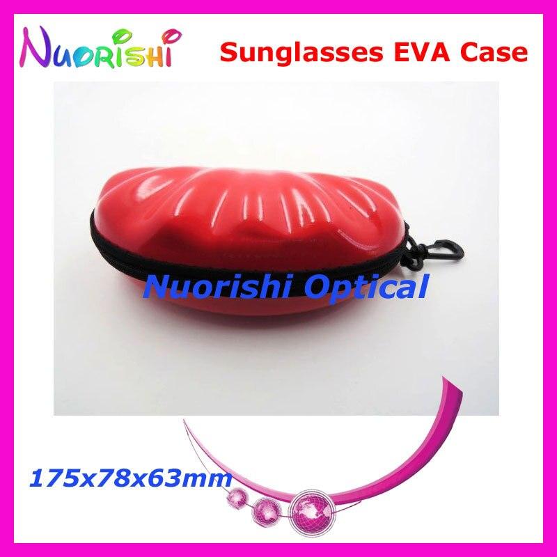 20 шт. в форме ракушки большой размер хороший 4 цвета на молнии очки солнцезащитные EVA чехол коробка ML023 - Цвет: Red