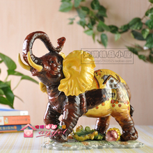 brown lucky ceramic elephant home decor crafts room decoration handicraft ornament porcelain animal figurines wedding