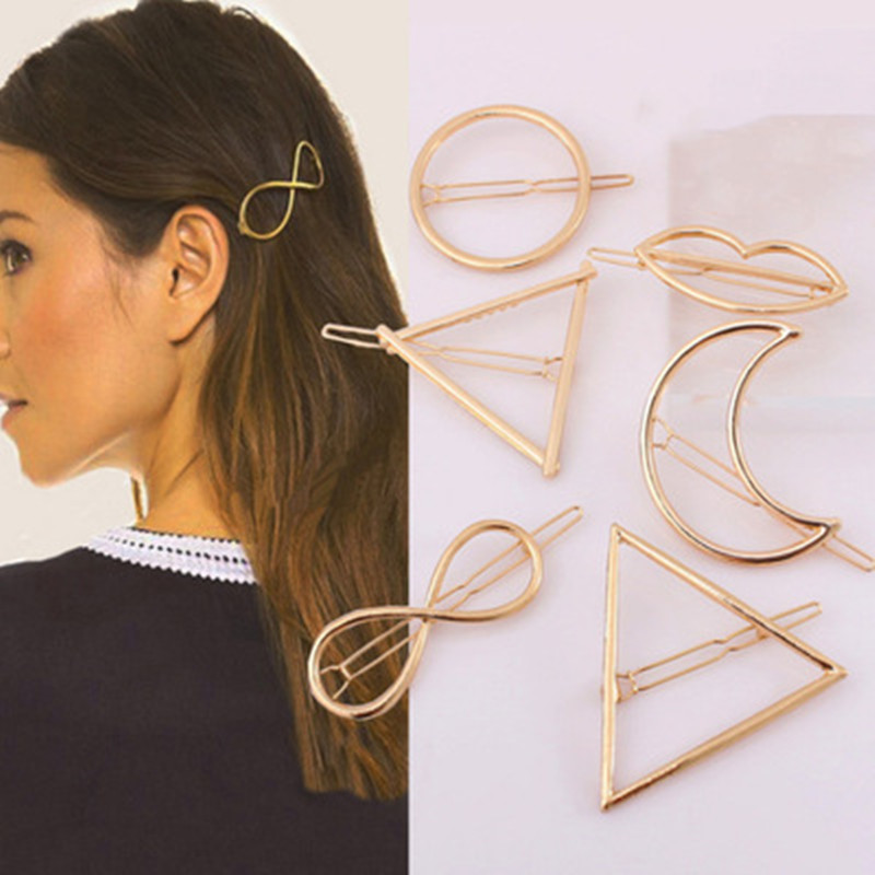 Geometric Shape Hair Clip Unicorn Women Lady Girl Punk Hollow Out Moon Triangle Circle Barrettes Hairpin Clamps Gold Tone 2019
